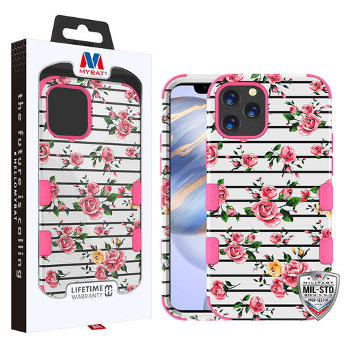 MyBat TUFF Hybrid Protector Cover [Military-Grade Certified] for Apple iPhone 12 (6.1) - Pink Fresh Roses / Electric Pink