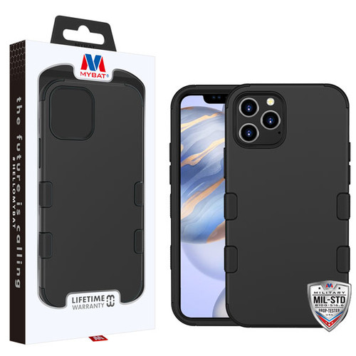 MyBat TUFF Hybrid Protector Case [Military-Grade Certified] for Apple iPhone 12 (6.1) - Rubberized Black / Black
