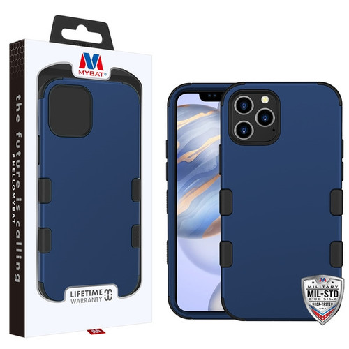 MyBat TUFF Hybrid Protector Case [Military-Grade Certified] for Apple iPhone 12 (6.1) - Rubberized Ink Blue / Black