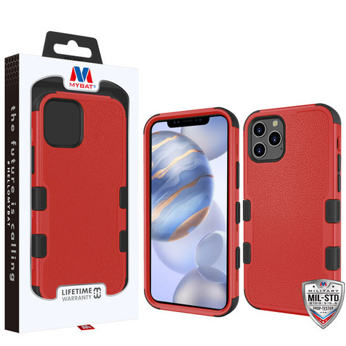 MyBat TUFF Hybrid Protector Cover [Military-Grade Certified] for Apple iPhone 12 (6.1) - Natural Red / Black