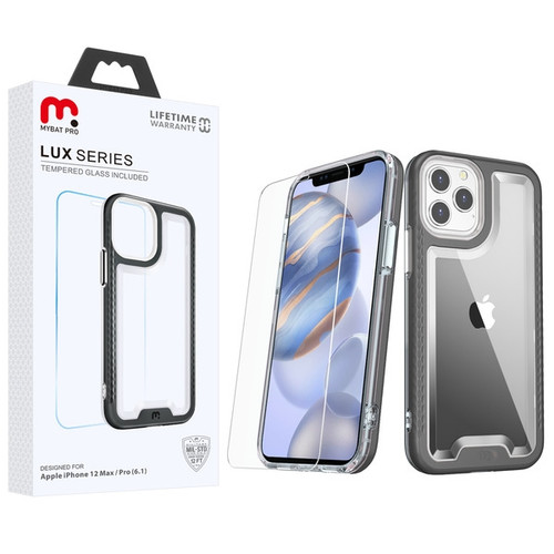 MyBat Pro Lux Series Hybrid Case (Tempered Glass Screen Protector) for Apple iPhone 12 (6.1) - Black / Transparent Clear