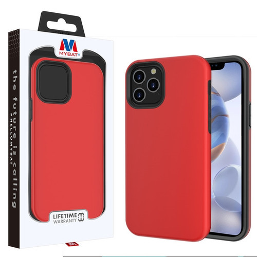 MyBat Fuse Hybrid Protector Cover for Apple iPhone 12 (6.1) - Rubberized Red / Black