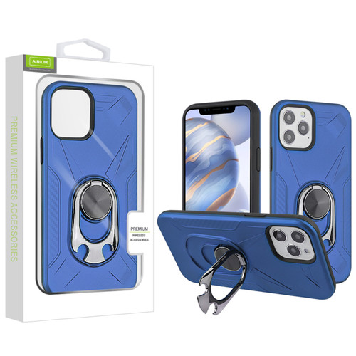 Airium Hybrid Protector Case (with Ring Holder Kickstand Bottle) for Apple iPhone 12 (6.1) - Ink Blue / Black