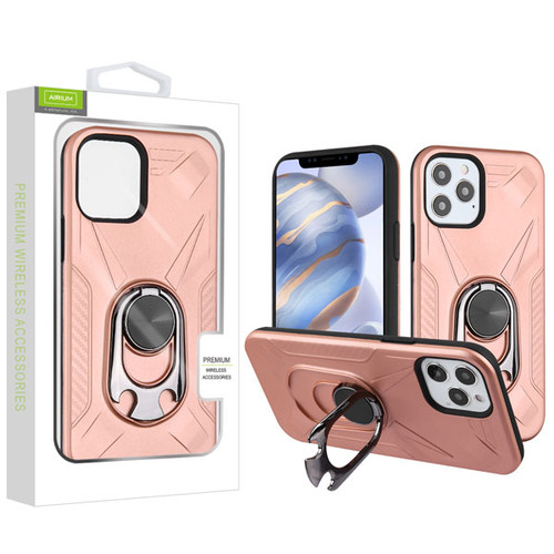 Airium Hybrid Protector Case (with Ring Holder Kickstand Bottle) for Apple iPhone 12 (6.1) - Rose Gold / Black