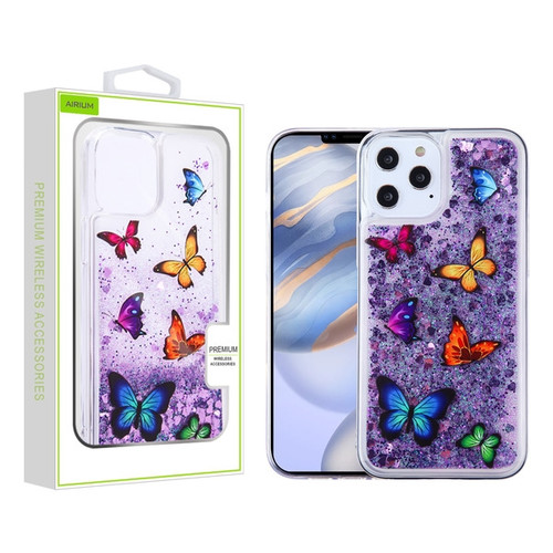 Airium Glitter Hybrid Protector Case for Apple iPhone 12 (6.1) - Butterfly Dancing & Purple Quicksand (Hearts)