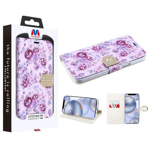 MyBat MyJacket Wallet Diamond Series for Apple iPhone 12 (6.1) - Fresh Purple Flowers