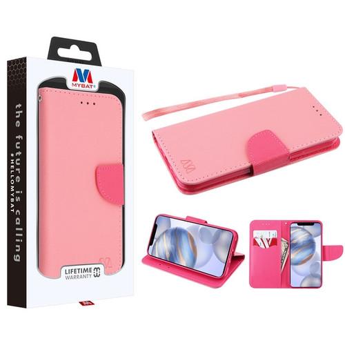 MyBat Liner MyJacket Wallet Crossgrain Series for Apple iPhone 12 (6.1) - Pink Pattern / Hot Pink