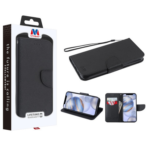 MyBat Liner MyJacket Wallet Crossgrain Series for Apple iPhone 12 (6.1) - Black Pattern / Black