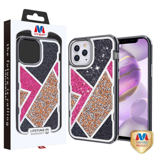 MyBat TUFF Kleer Hybrid Case for Apple iPhone 12 Pro Max (6.7) - Electroplated Black / Transparent Clear Mini Crystals & Glitter