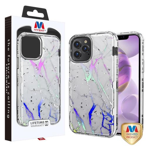 MyBat TUFF Kleer Hybrid Case for Apple iPhone 12 Pro Max (6.7) - White Marbling / Electroplating Silver