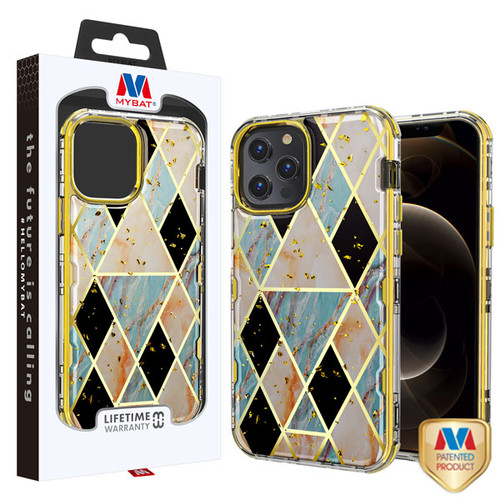 MyBat TUFF Kleer Hybrid Case for Apple iPhone 12 Pro Max (6.7) - Electroplated Blue Marble / Electroplating Gold