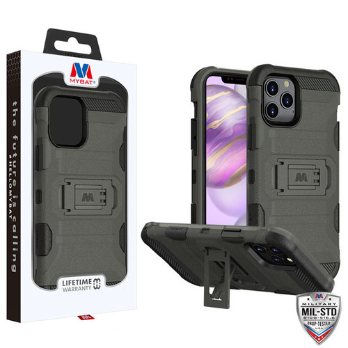MyBat Storm Tank Hybrid Protector Case [Military-Grade Certified] for Apple iPhone 12 Pro Max (6.7) - Dark Grey / Black