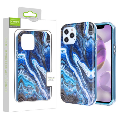 Airium Frame Hybrid Case for Apple iPhone 12 Pro Max (6.7) - Blue Stone Marbling Blue