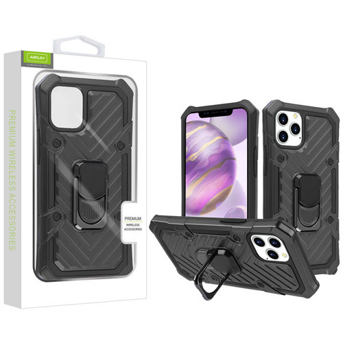 Airium Hybrid Case (with Ring Stand) for Apple iPhone 12 Pro Max (6.7) - Black / Black