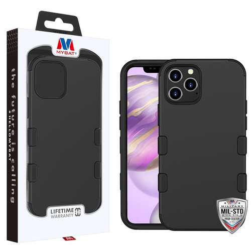 MyBat TUFF Hybrid Protector Cover [Military-Grade Certified] for Apple iPhone 12 Pro Max (6.7) - Rubberized Black / Black
