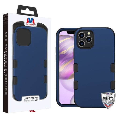 MyBat TUFF Hybrid Protector Cover [Military-Grade Certified] for Apple iPhone 12 Pro Max (6.7) - Rubberized Ink Blue / Black