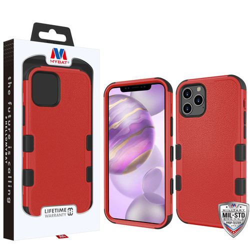 MyBat TUFF Hybrid Protector Cover [Military-Grade Certified] for Apple iPhone 12 Pro Max (6.7) - Natural Red / Black