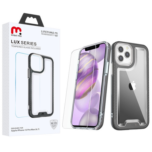 MyBat Pro Lux Series Hybrid Case (Tempered Glass Screen Protector) for Apple iPhone 12 Pro Max (6.7) - Black / Transparent Clear