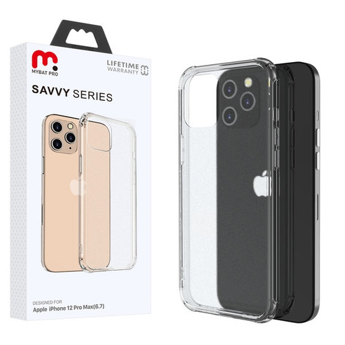 MyBat Pro Savvy Series Hybrid Case for Apple iPhone 12 Pro Max (6.7) - Transparent Clear Frosted / Transparent Clear