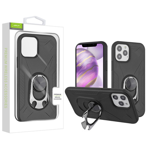 Airium Hybrid Protector Case (with Ring Holder Kickstand Bottle) for Apple iPhone 12 Pro Max (6.7) - Black / Black