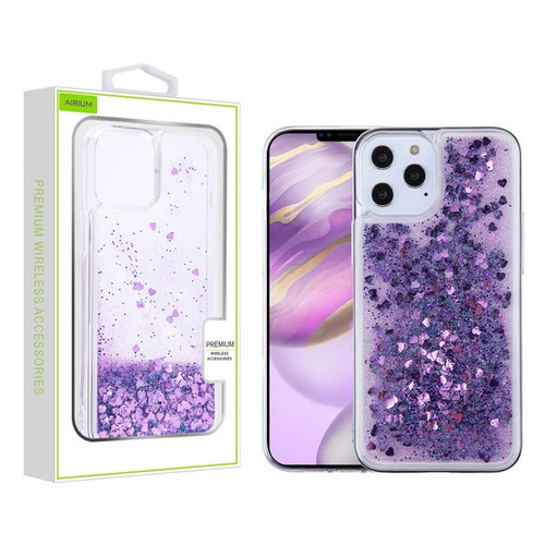 Airium Quicksand Glitter Hybrid Protector Case for Apple iPhone 12 Pro Max (6.7) - Hearts & Purple