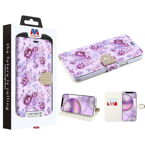 MyBat MyJacket Wallet Diamond Series for Apple iPhone 12 Pro Max (6.7) - Fresh Purple Flowers