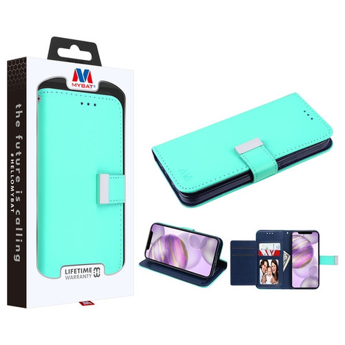 MyBat MyJacket Wallet Xtra Series for Apple iPhone 12 Pro Max (6.7) - Teal Green / Dark Blue