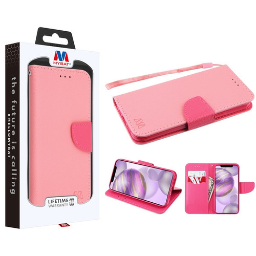MyBat Liner MyJacket Wallet Crossgrain Series for Apple iPhone 12 Pro Max (6.7) - Pink Pattern / Hot Pink