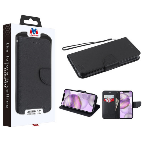 MyBat Liner MyJacket Wallet Crossgrain Series for Apple iPhone 12 Pro Max (6.7) - Black Pattern / Black
