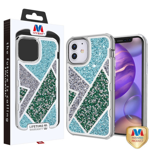 MyBat TUFF Kleer Hybrid Case for Apple iPhone 12 mini (5.4) - Electroplated Silver / Transparent Clear Mini Crystals & Glitter