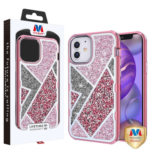 MyBat TUFF Kleer Hybrid Case for Apple iPhone 12 mini (5.4) - Electroplated Rose Gold / Transparent Clear Mini Crystals & Glitter