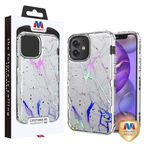 MyBat TUFF Kleer Hybrid Case for Apple iPhone 12 mini (5.4) - White Marbling / Electroplating Silver