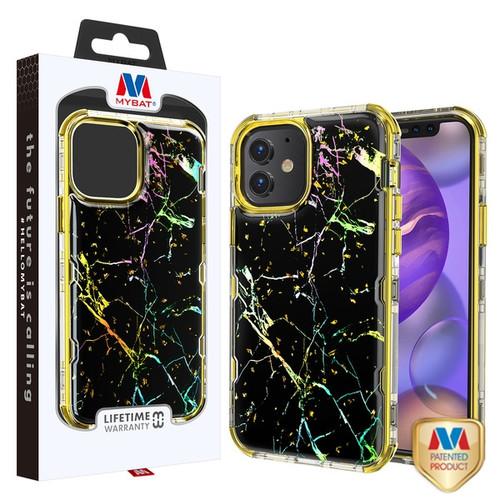 MyBat TUFF Kleer Hybrid Case for Apple iPhone 12 mini (5.4) - Black Marbling / Electroplating Gold