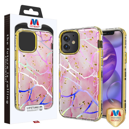 MyBat TUFF Kleer Hybrid Case for Apple iPhone 12 mini (5.4) - Pink Marbling / Electroplating Gold
