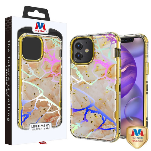 MyBat TUFF Kleer Hybrid Case for Apple iPhone 12 mini (5.4) - Pale Yellow Marbling / Electroplating Gold