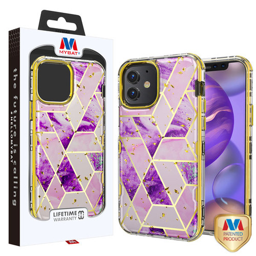 MyBat TUFF Kleer Hybrid Case for Apple iPhone 12 mini (5.4) - Electroplated Purple Marble / Electroplating Gold