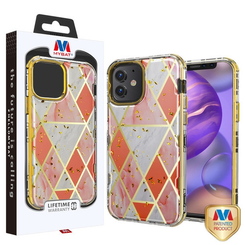 MyBat TUFF Kleer Hybrid Case for Apple iPhone 12 mini (5.4) - Electroplated Pink Marble / Electroplating Gold
