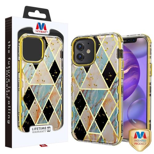MyBat TUFF Kleer Hybrid Case for Apple iPhone 12 mini (5.4) - Electroplated Blue Marble / Electroplating Gold