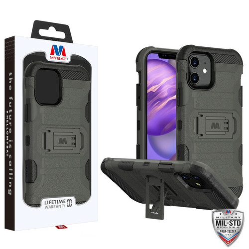 MyBat Storm Tank Hybrid Protector Case [Military-Grade Certified] for Apple iPhone 12 mini (5.4) - Dark Grey / Black