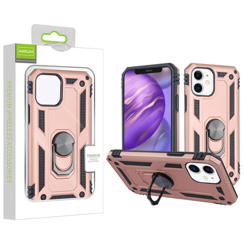 Airium Anti-Drop Hybrid Protector Case (with Ring Stand) for Apple iPhone 12 mini (5.4) - Rose Gold / Black