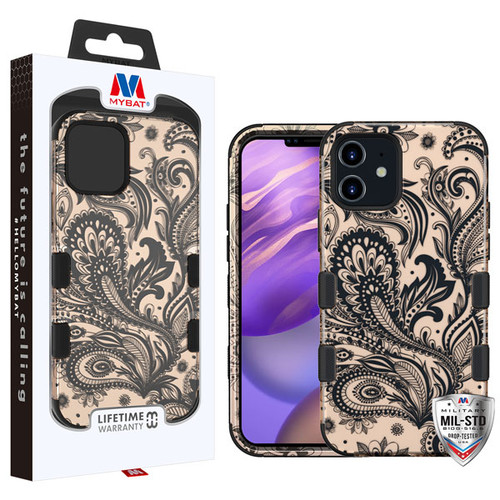 MyBat TUFF Hybrid Protector Cover [Military-Grade Certified] for Apple iPhone 12 mini (5.4) - Phoenix Flower (2D Rose Gold) / Black