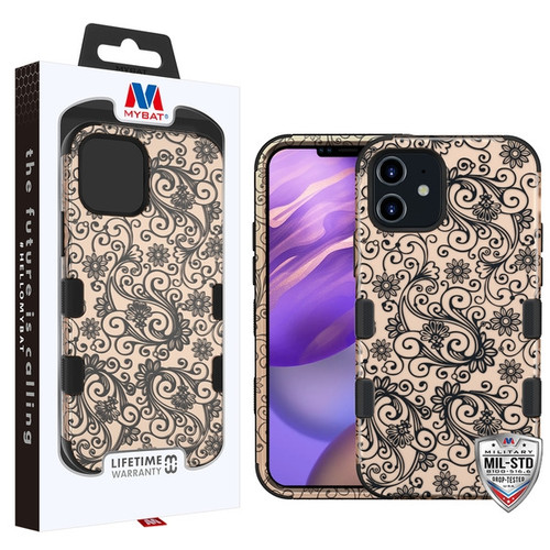 MyBat TUFF Hybrid Protector Cover [Military-Grade Certified] for Apple iPhone 12 mini (5.4) - Leaf Clover (2D Rose Gold) / Black