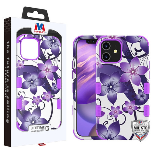 MyBat TUFF Hybrid Protector Case [Military-Grade Certified] for Apple iPhone 12 mini (5.4) - Purple Hibiscus Flower Romance / Electric Purple