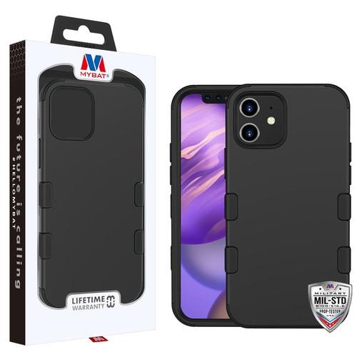 MyBat TUFF Hybrid Protector Cover [Military-Grade Certified] for Apple iPhone 12 mini (5.4) - Rubberized Black / Black