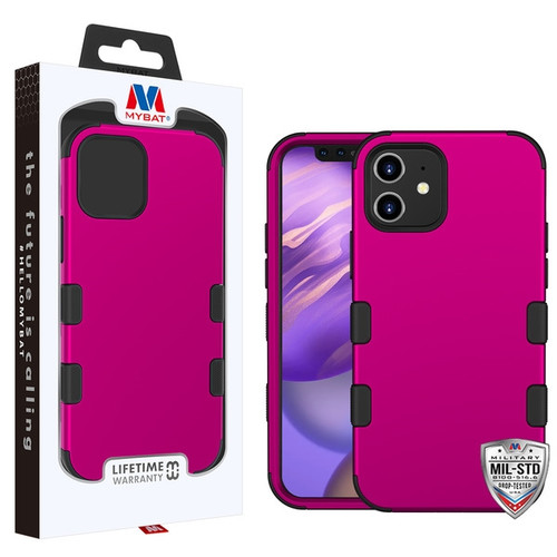 MyBat TUFF Hybrid Protector Cover [Military-Grade Certified] for Apple iPhone 12 mini (5.4) - Titanium Solid Hot Pink / Black