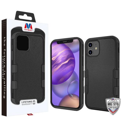 MyBat TUFF Hybrid Protector Cover [Military-Grade Certified] for Apple iPhone 12 mini (5.4) - Natural Black / Black