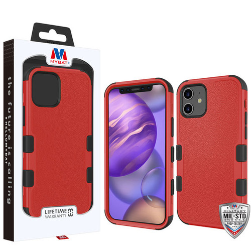 MyBat TUFF Hybrid Protector Cover [Military-Grade Certified] for Apple iPhone 12 mini (5.4) - Natural Red / Black
