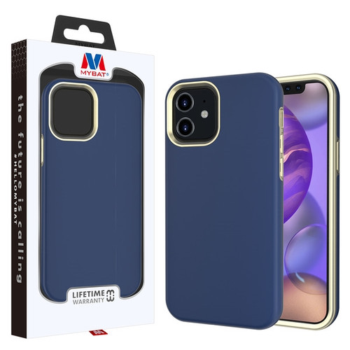 MyBat Fuse Hybrid Protector Cover for Apple iPhone 12 mini (5.4) - Rubberized Ink Blue / Metallic Gold
