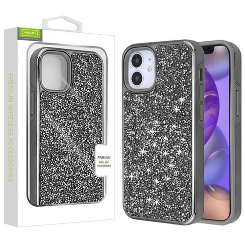 Airium Encrusted Rhinestones Hybrid Case for Apple iPhone 12 mini (5.4) - Electroplated Gun Metal / Iron Gray