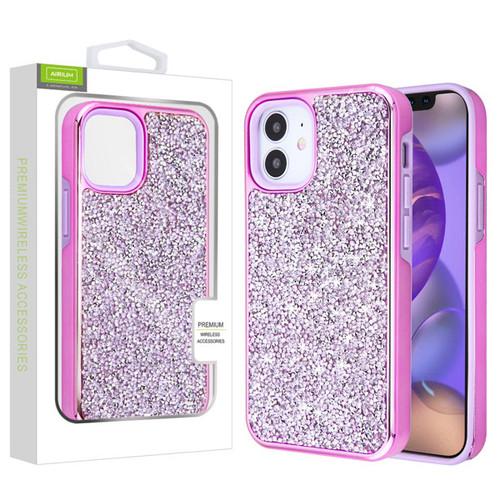 Airium Encrusted Rhinestones Hybrid Case for Apple iPhone 12 mini (5.4) - Electroplated Purple / Purple